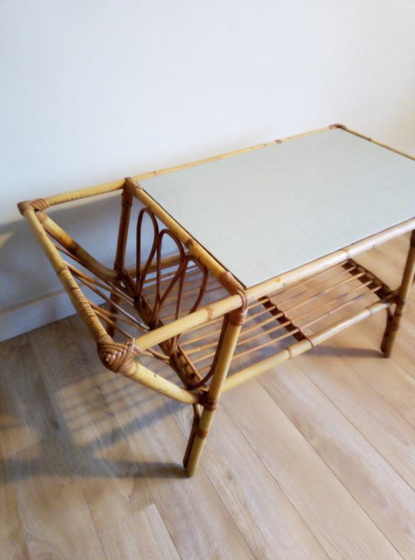 table-basse-rotin-cannage-porte-revue-vintage