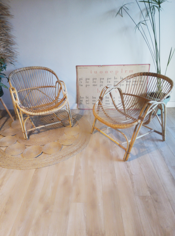 fauteuil corbeille rotin vintage eshop Madame Blabla